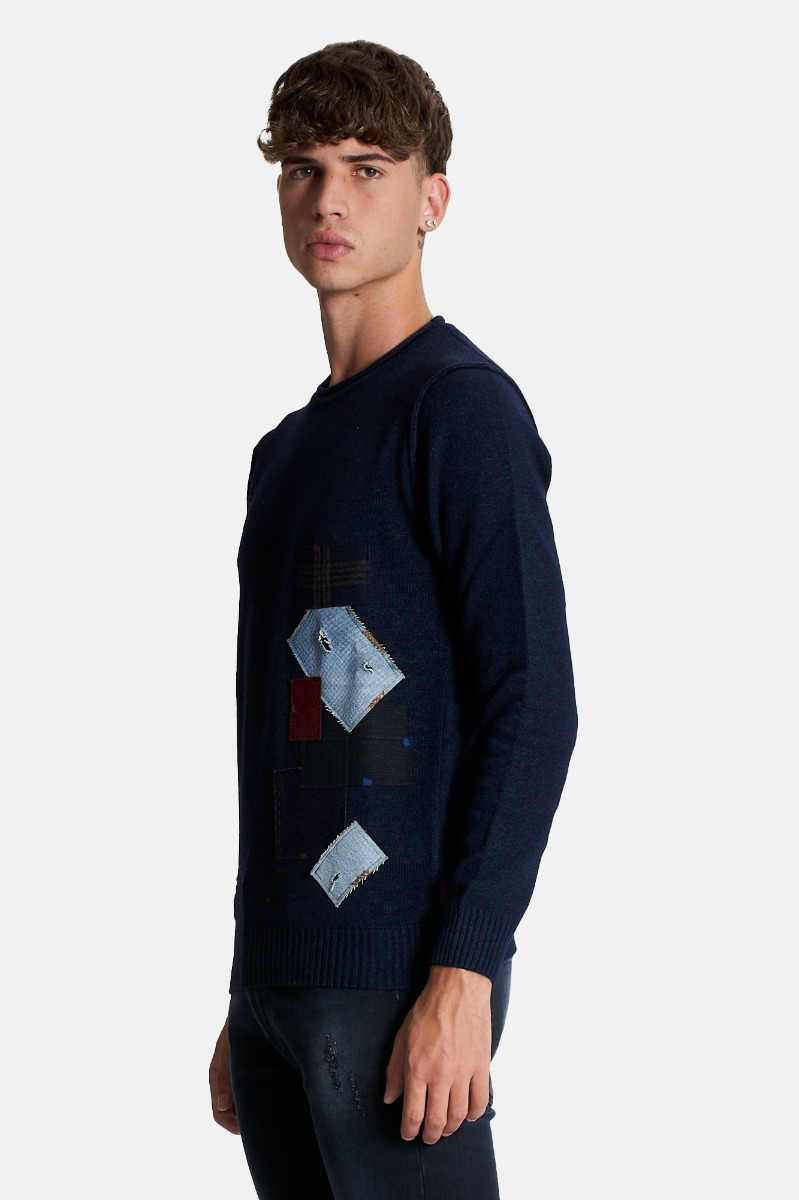 Maglione patch -Blu