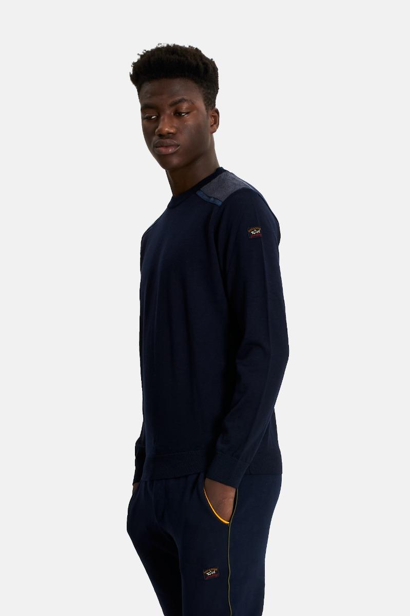 Girocollo lana merino-Blu