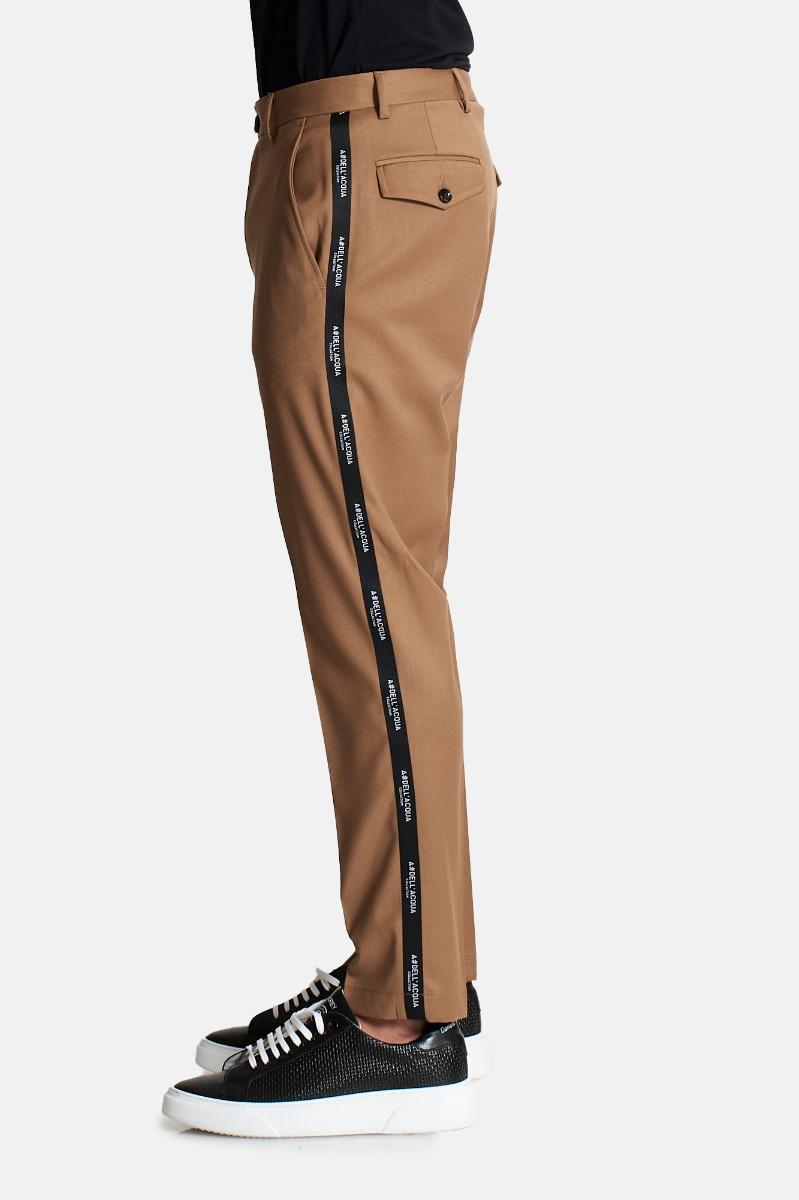 Pantalone banda laterale logo -Beige