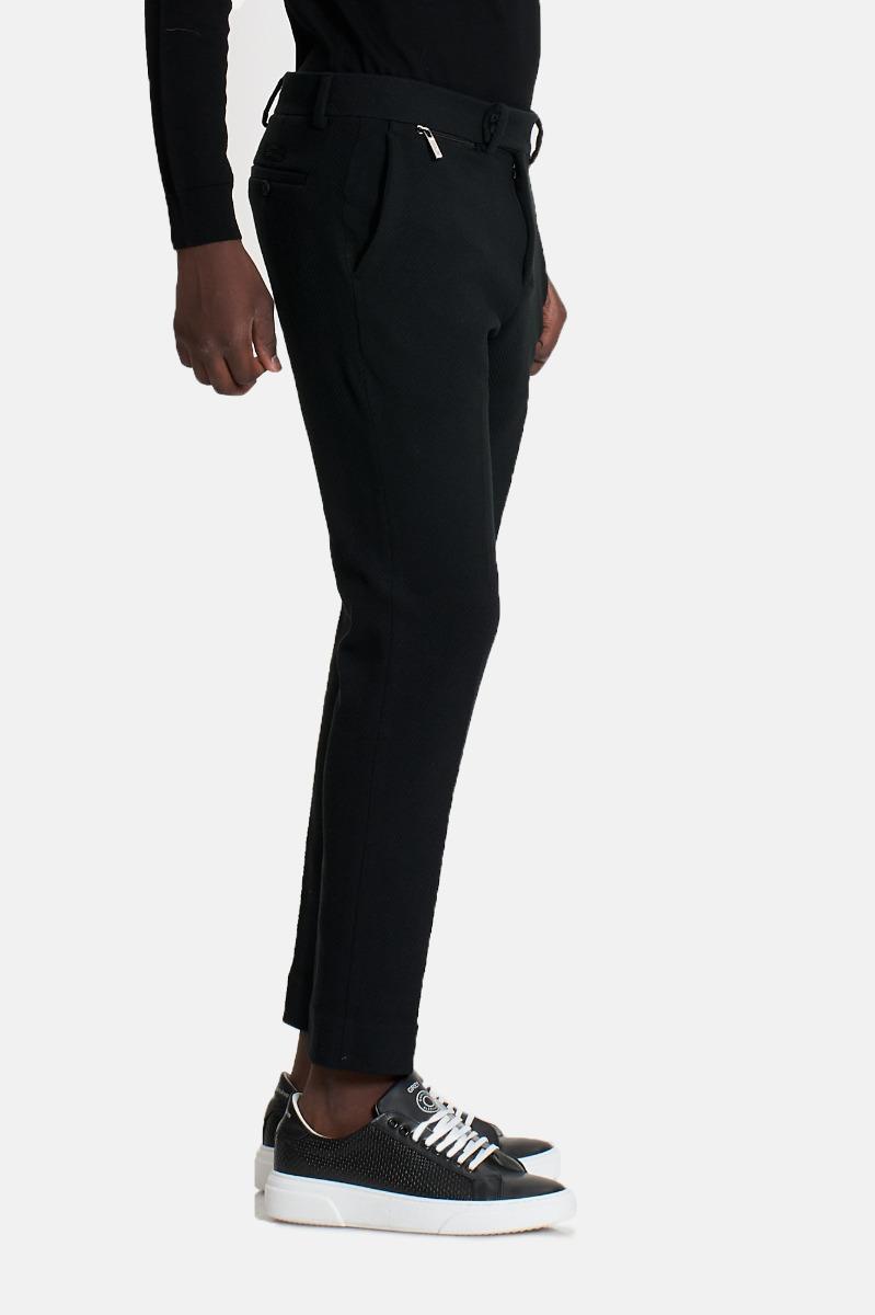 Pantalone spigato tono su tono -Nero