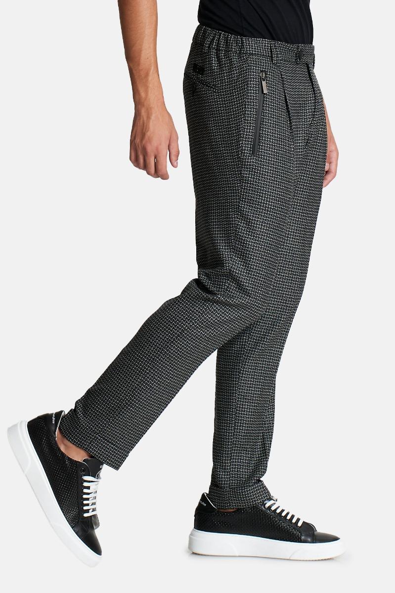 Pantalone fantasia-Nero/ Bianco