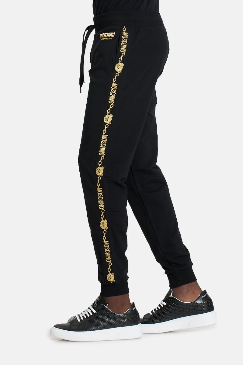 Pantalone tuta banda oro -Nero