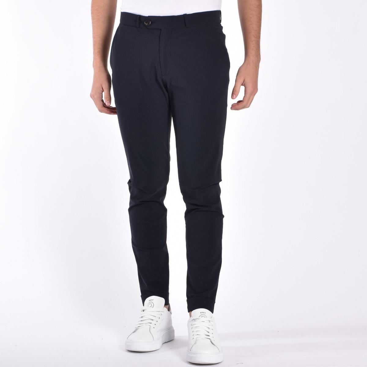 Pantalone chino micro- Blu