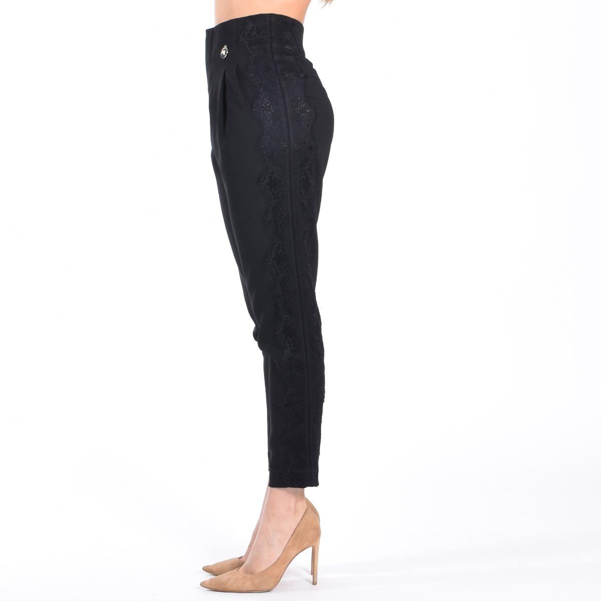 Pantalone in crepe con borchie- Nero