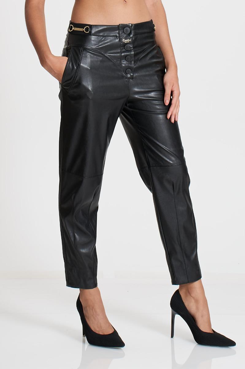 Pantalone ecopelle con morsetti- Nero