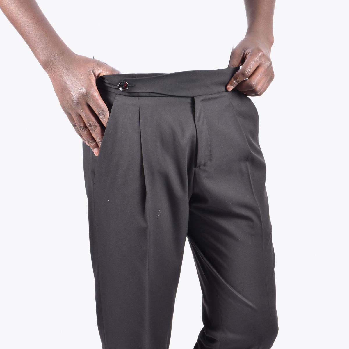 Pantaloni fascia vita e bottone - Nero