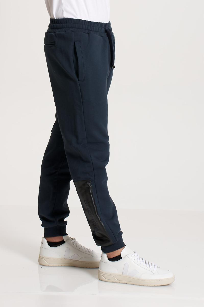 Pantalone in felpa e logo - Blu