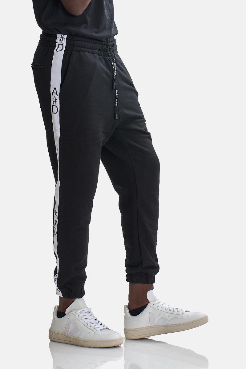 Pantalone felpa banda laterale - Nero