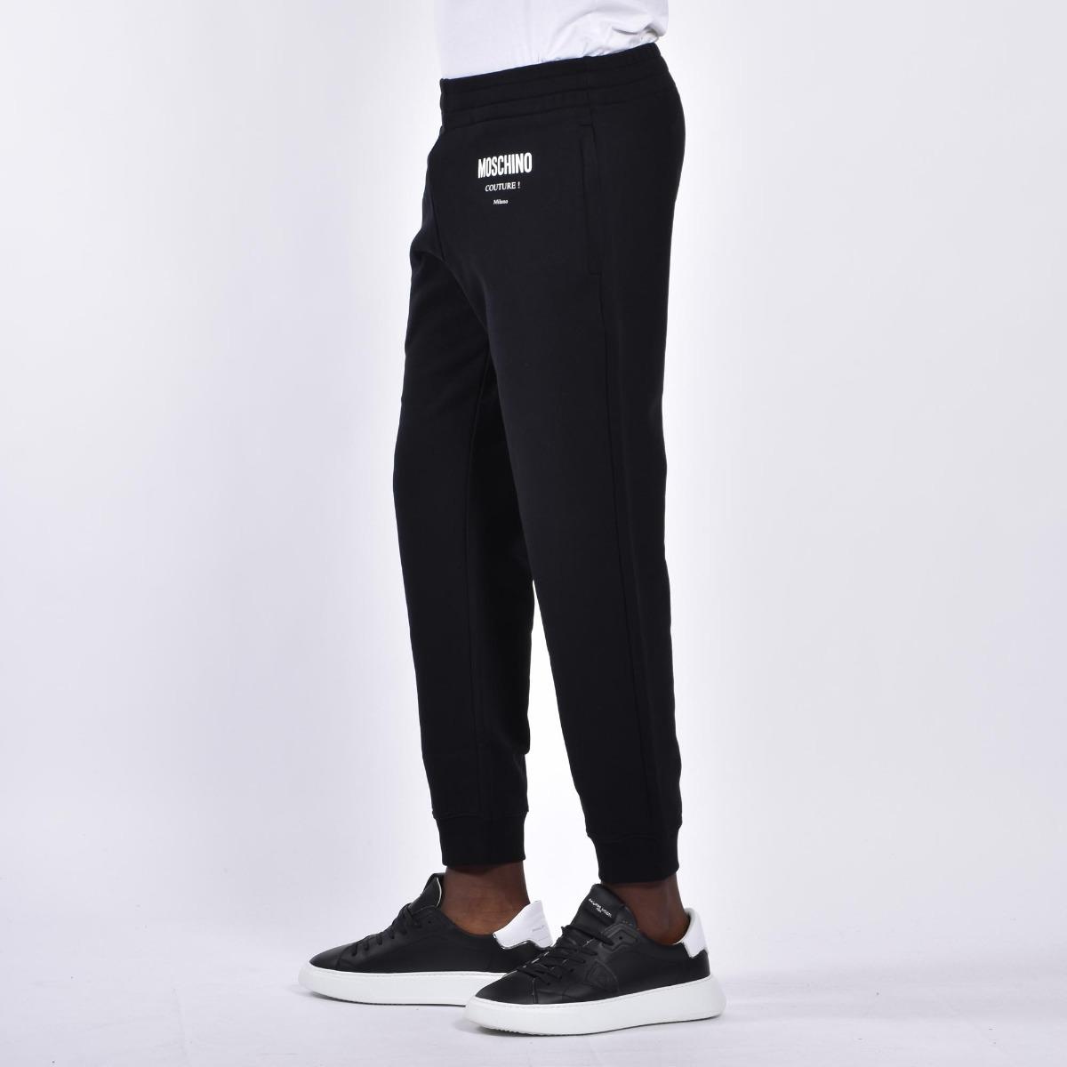 Pantalone felpa logo couture - Nero
