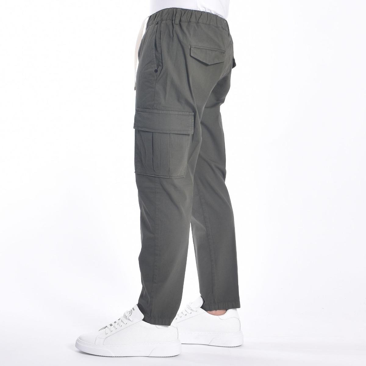 Pantaloni con tasconi- Verde militare