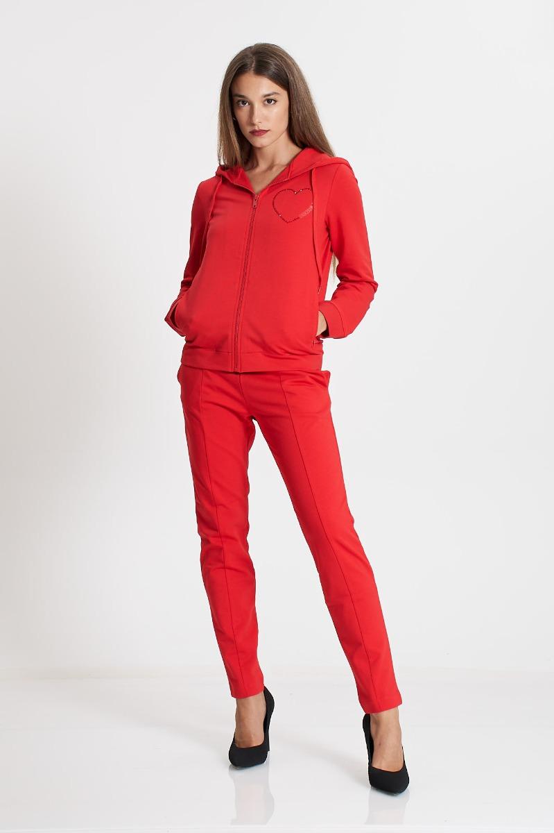 Pantalone felpa cuore strass- Rosso