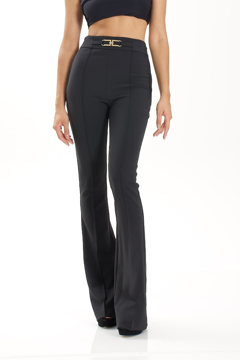 Pantalone vita alta morsetto- Nero