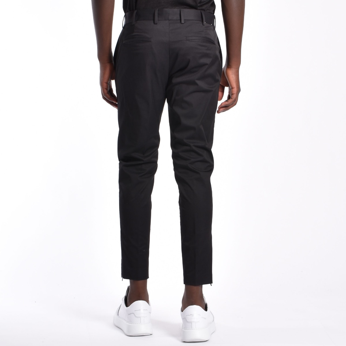Pantalone zip laterale orlo - Nero