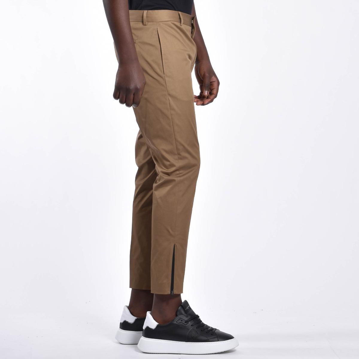 Pantalone zip laterale orlo - Sabbia scuro