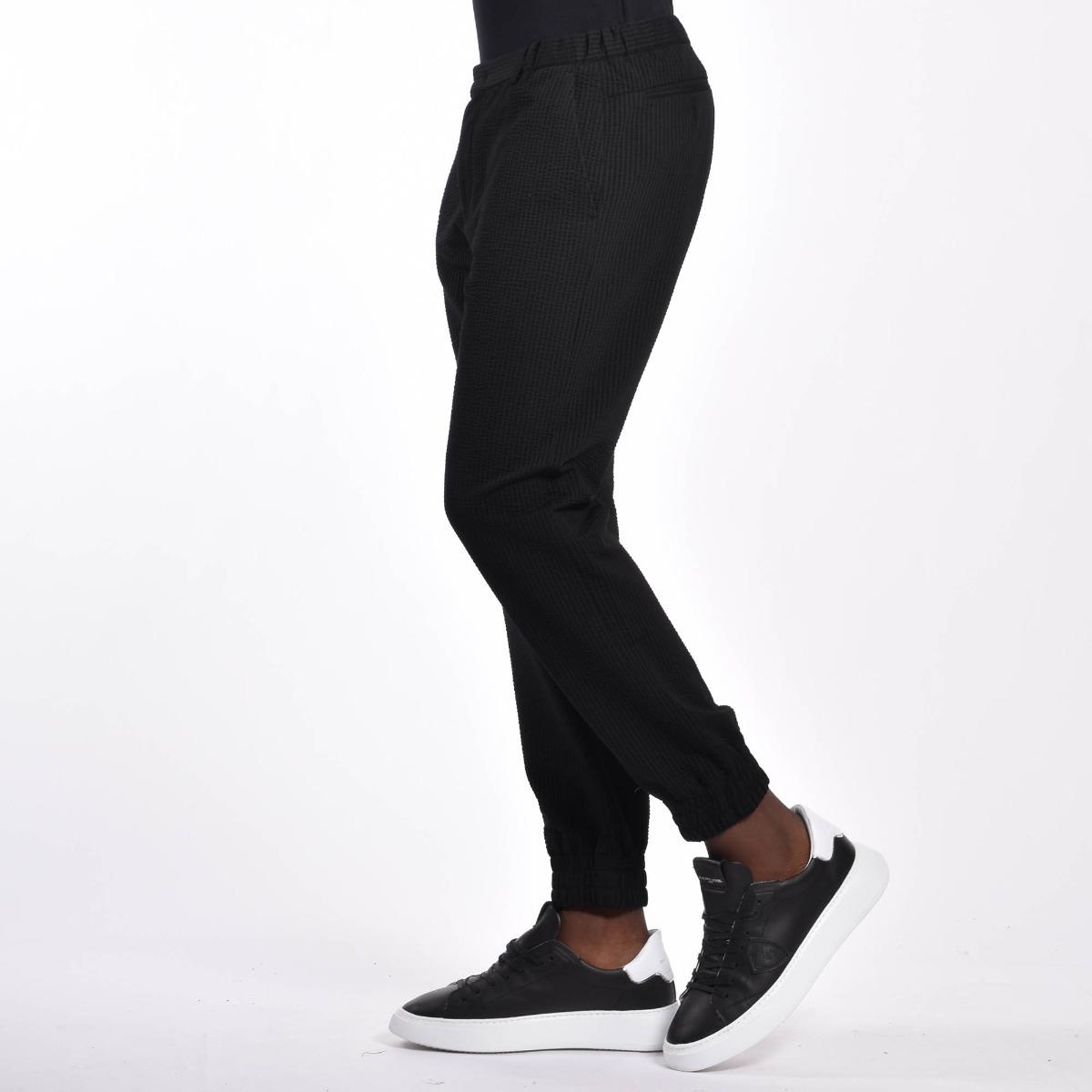 Pantalone jersey con polsino - Nero