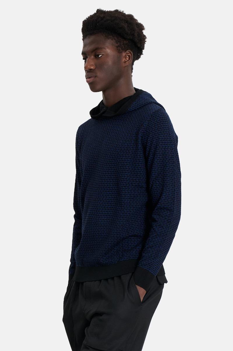 Pullover con cappuccio -Blu