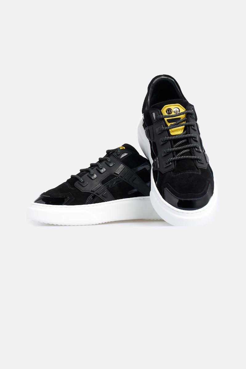 Sneaker mini silver stone - Nero/Giallo