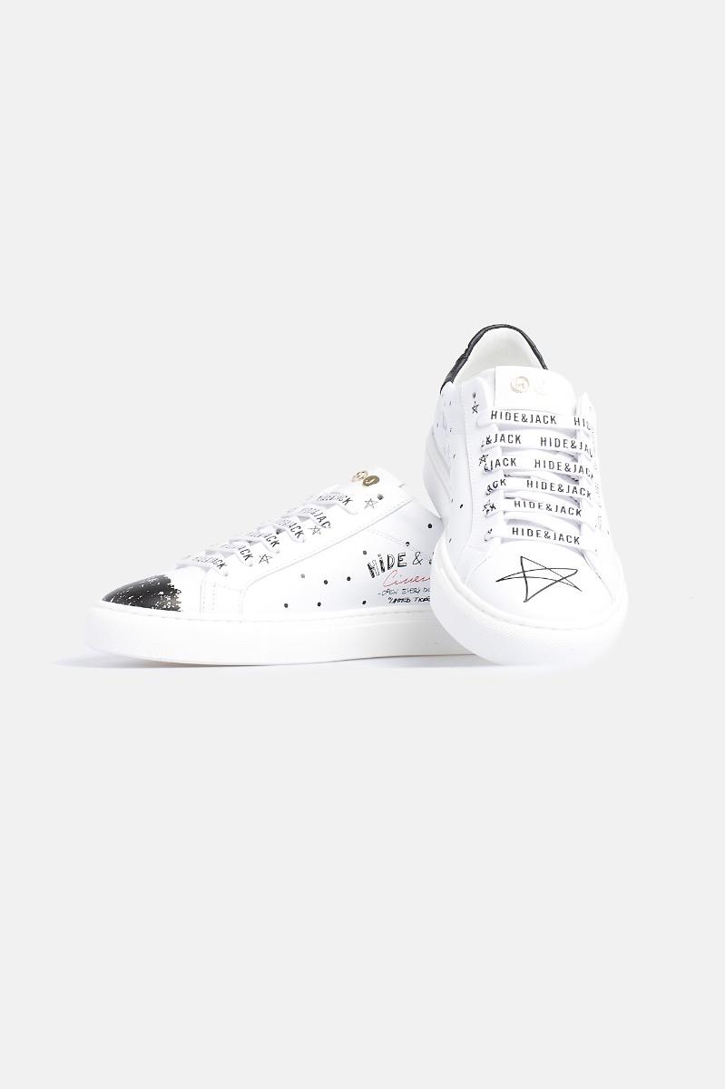 Sneaker calf and nubuk printed - Nero/Bianco