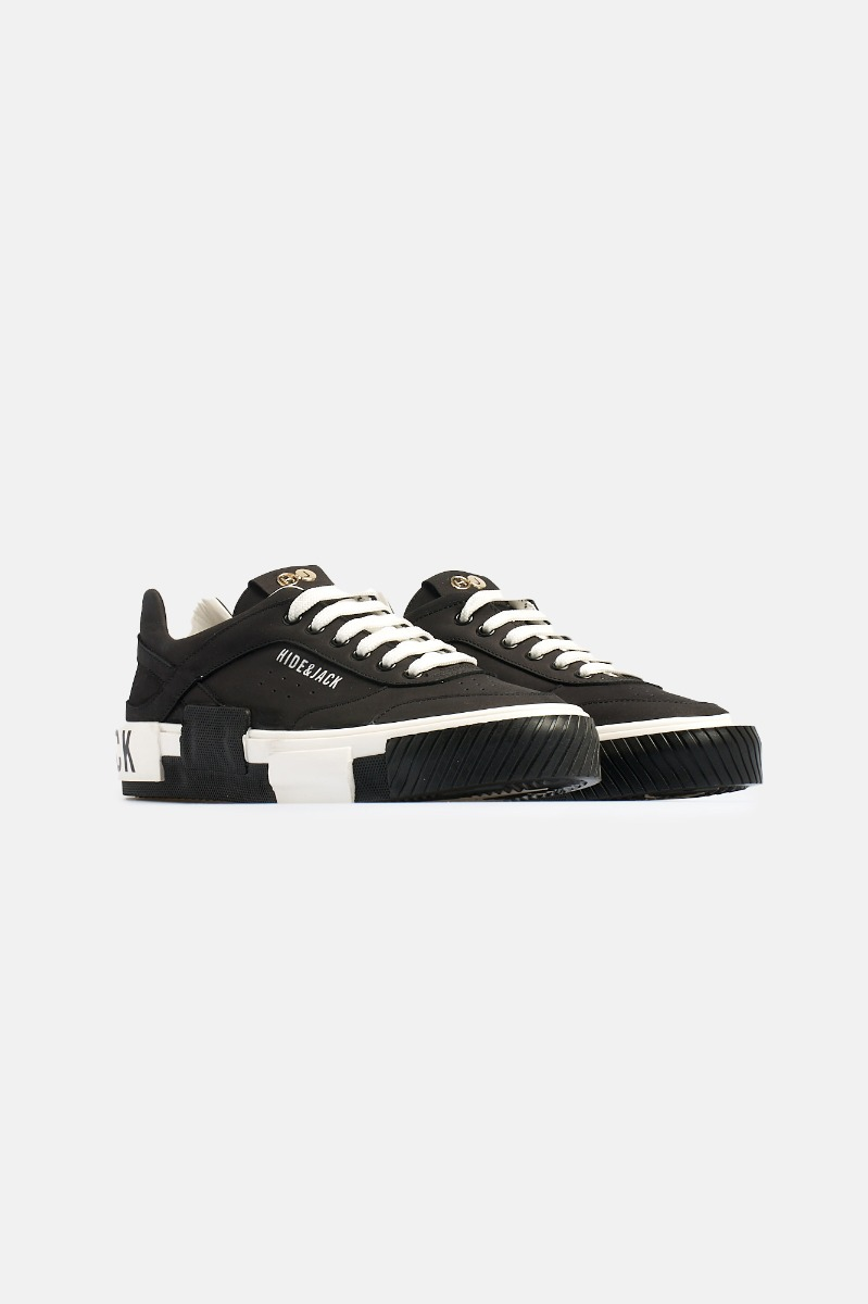 Top sneaker nabuk leather -Nero-Bianco