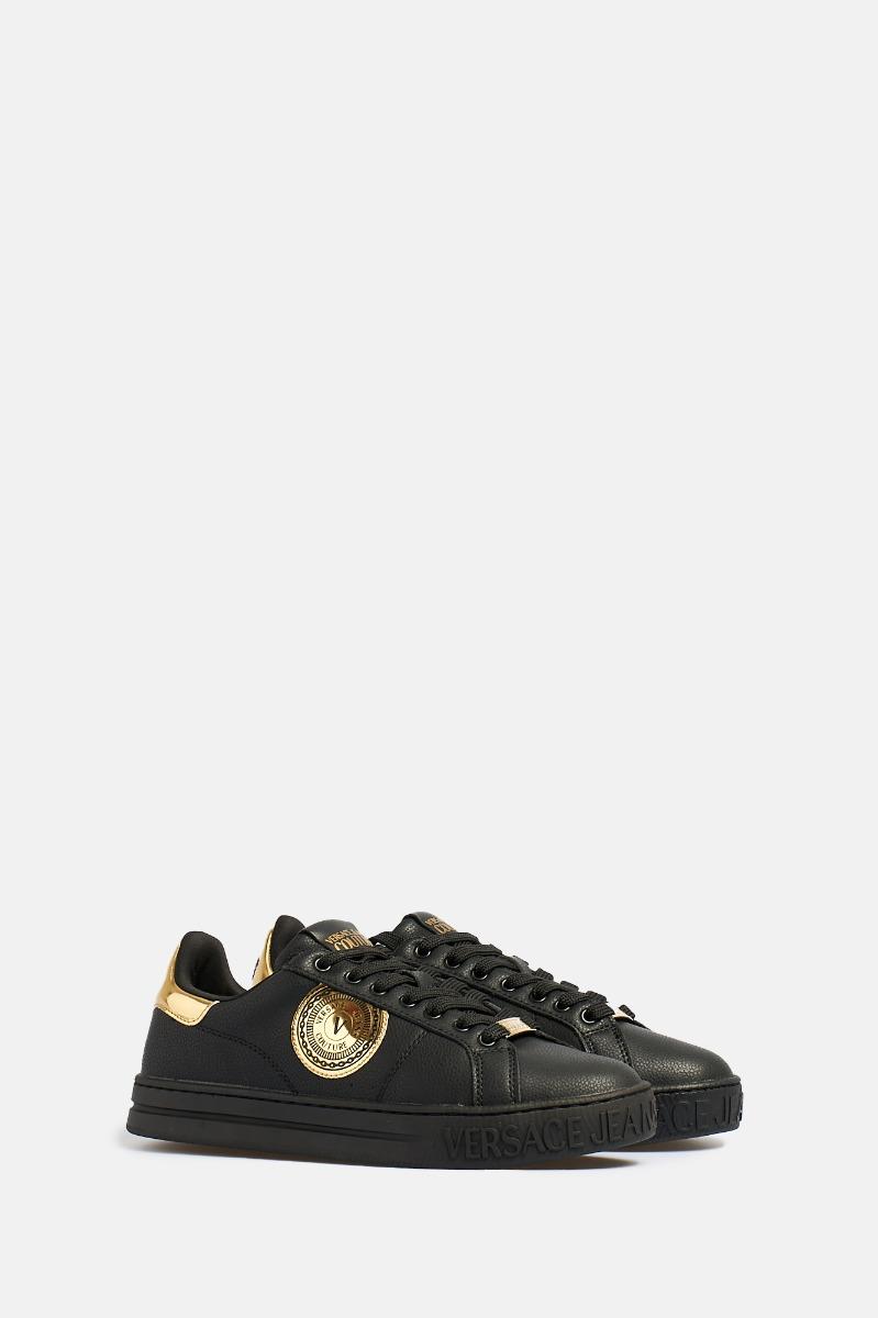 Sneakers pelle logo oro - Nero