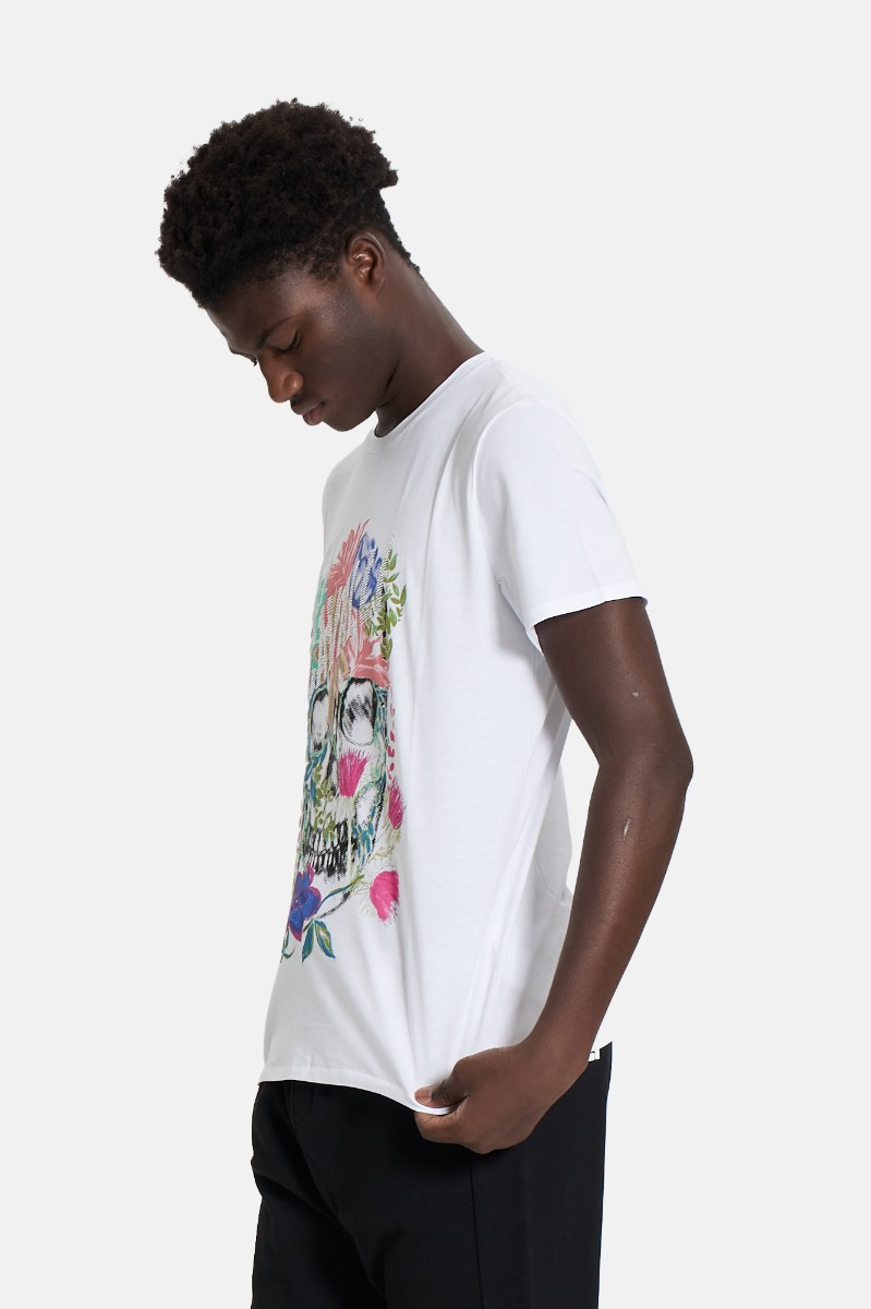 T-shirt strass e fiori -Bianco