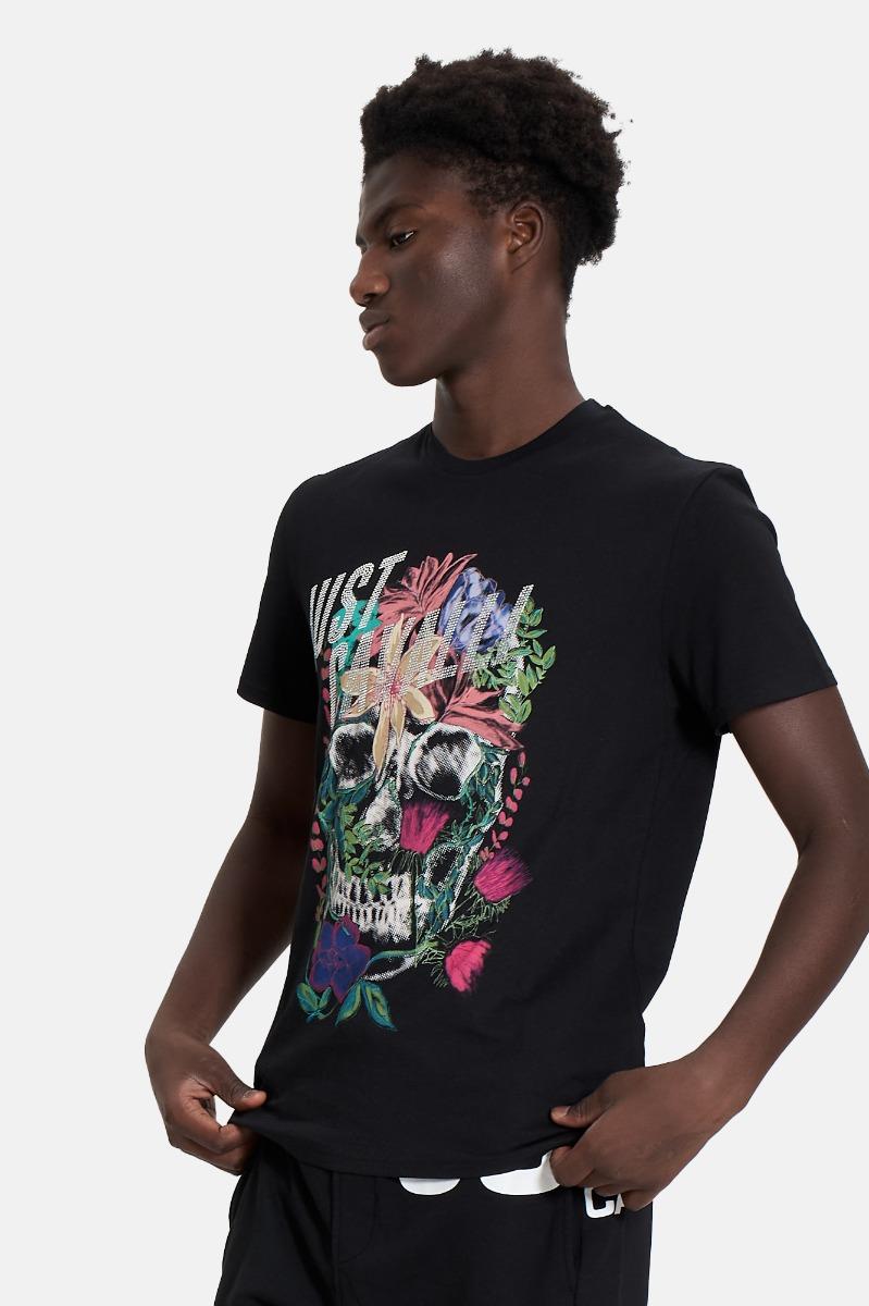 T-shirt strass e fiori -Black