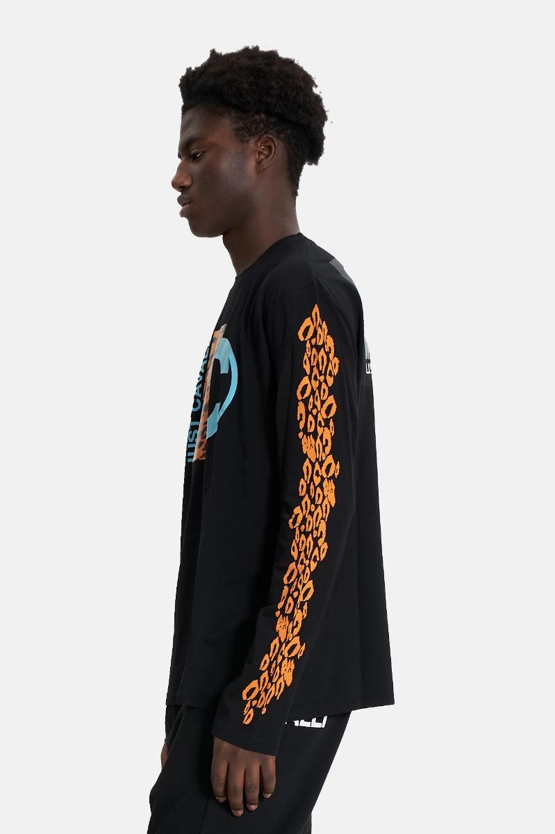 T-shirt logo e st tigrato -Nero
