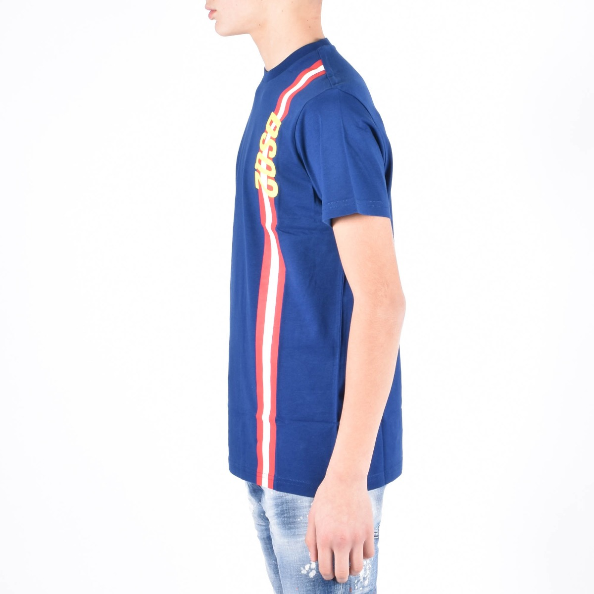 T-shirt con banda- Blu