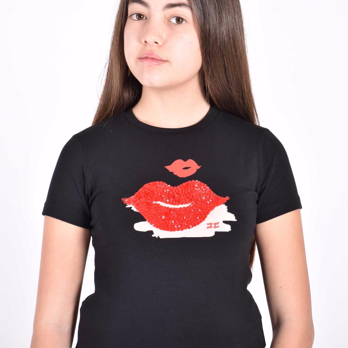 T-shirt con paillettes - Nera
