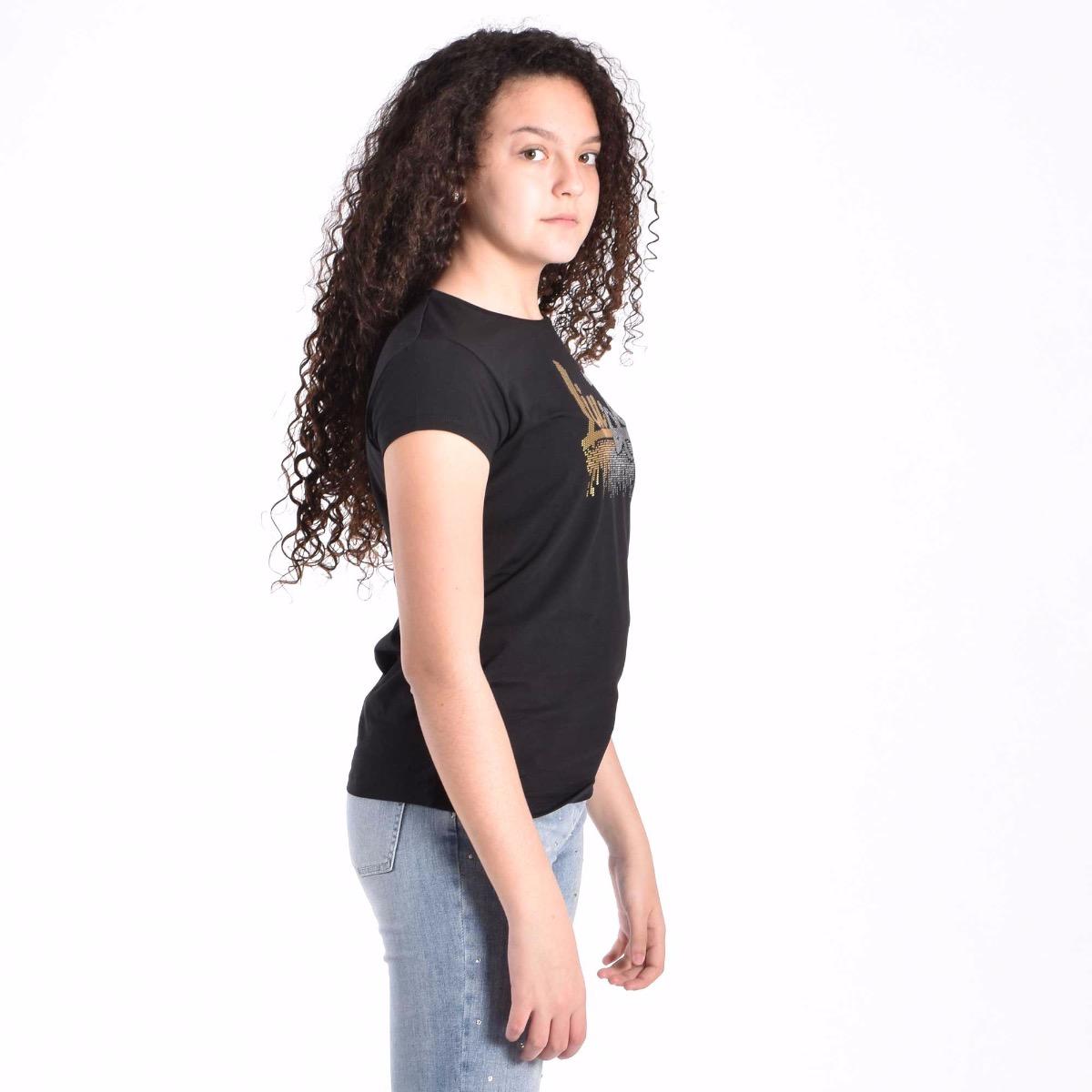 T-shirt con strass - Nero