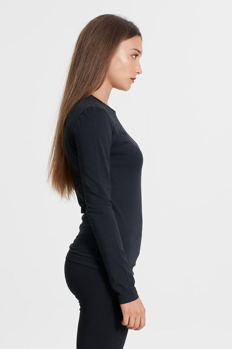 T-shirt cuore strass- Nero
