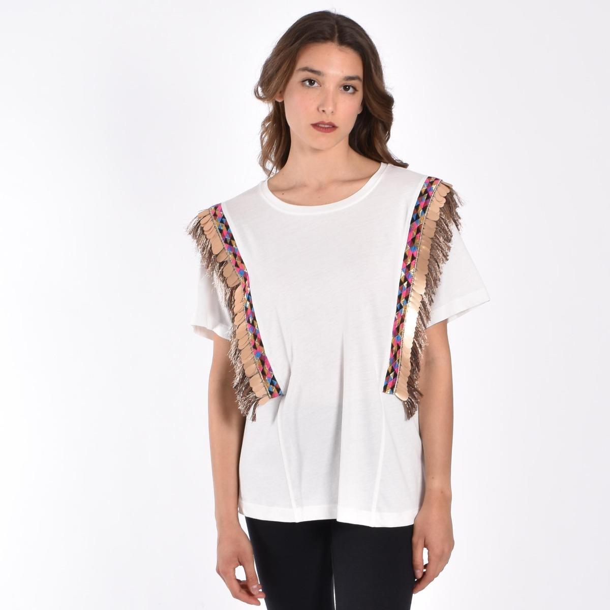 T-shirt paillette e frange- Panna