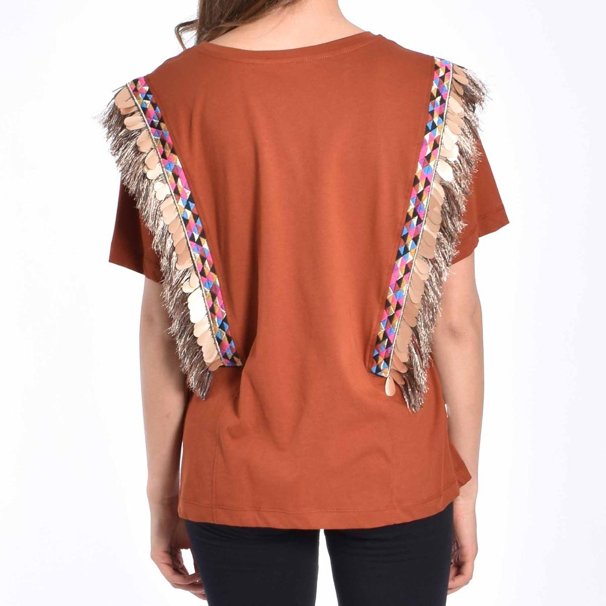 T-shirt paillettes e frange- Tegola