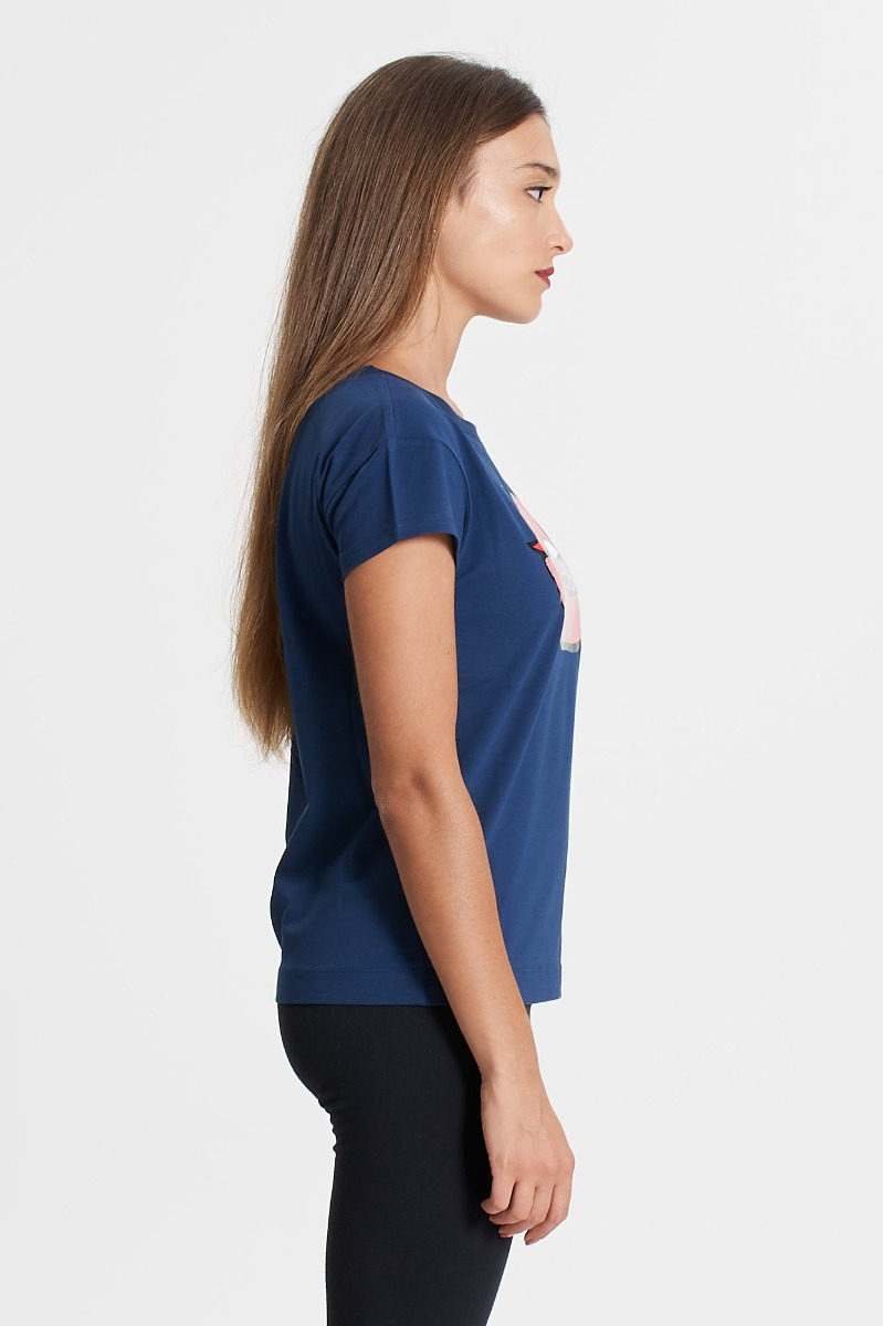 T-shirt lips e logo- Blu