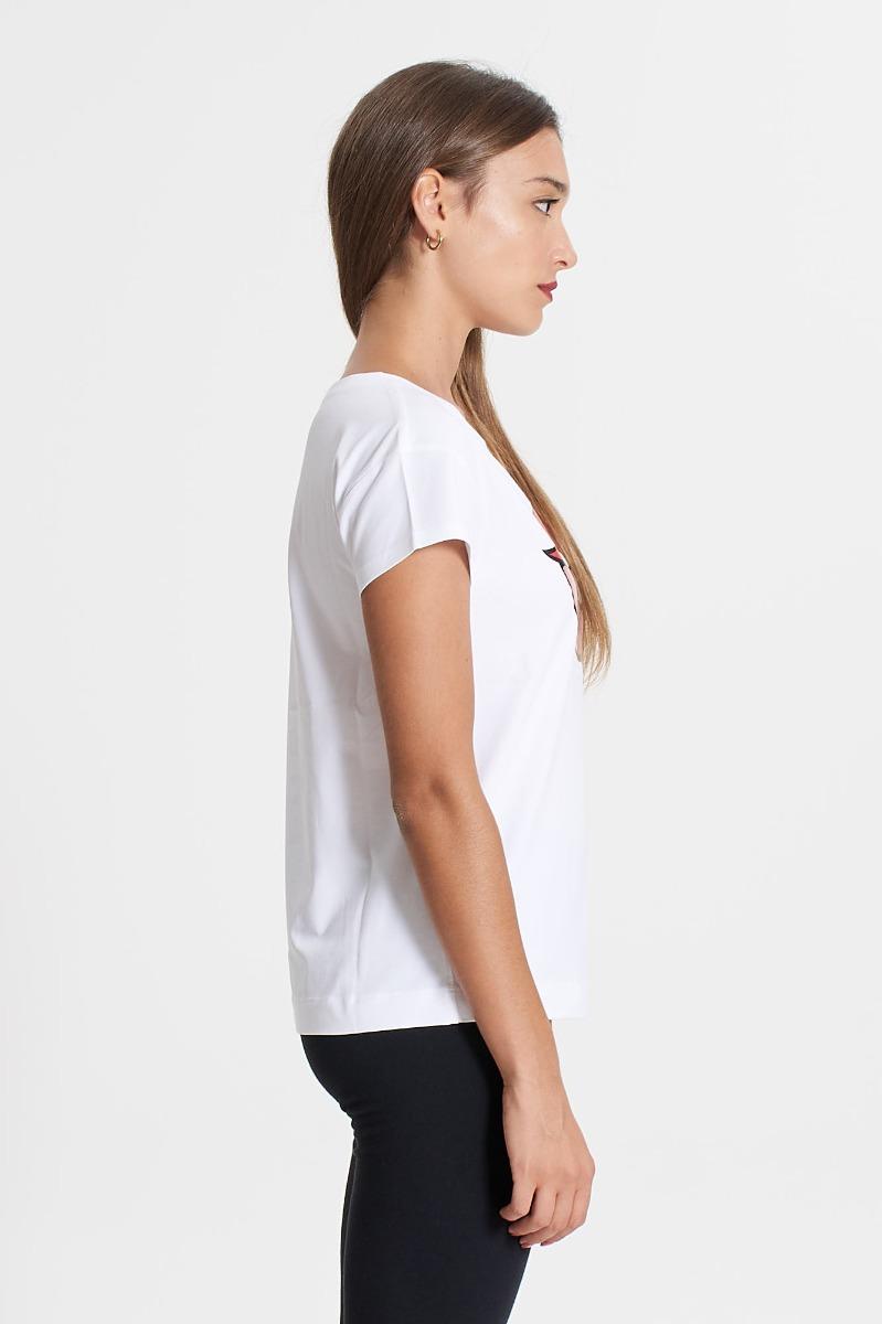 T-shirt lips logo- Bianco
