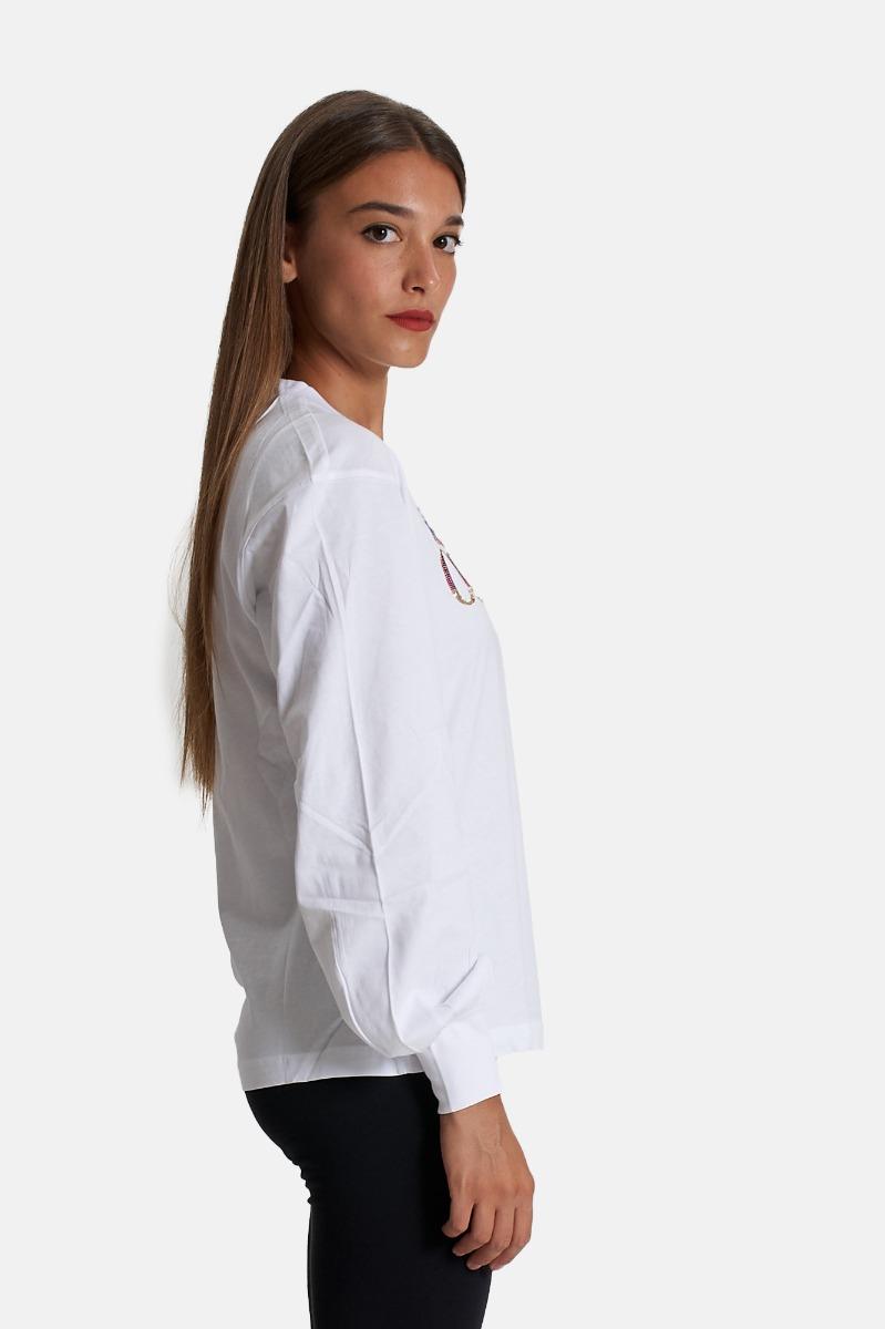 T-shirt logo sequins - Bianco