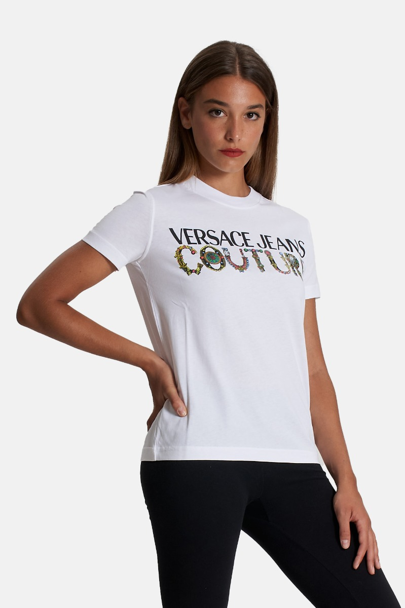 T-shirt logo bijoux - Bianco