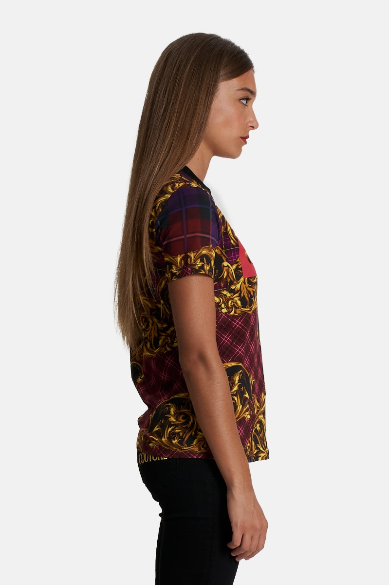 T-shirt squared rubber - Viola/oro