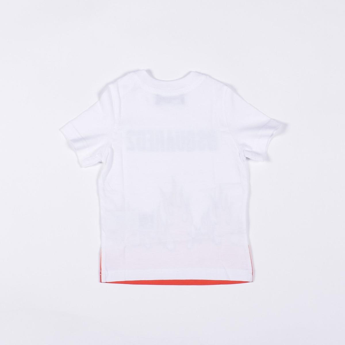 T-shirt logo e fiamme- Bianco