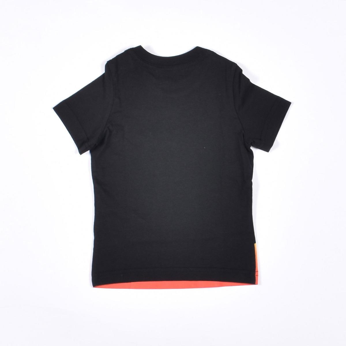 T-shirt logo e fiamme- Nero