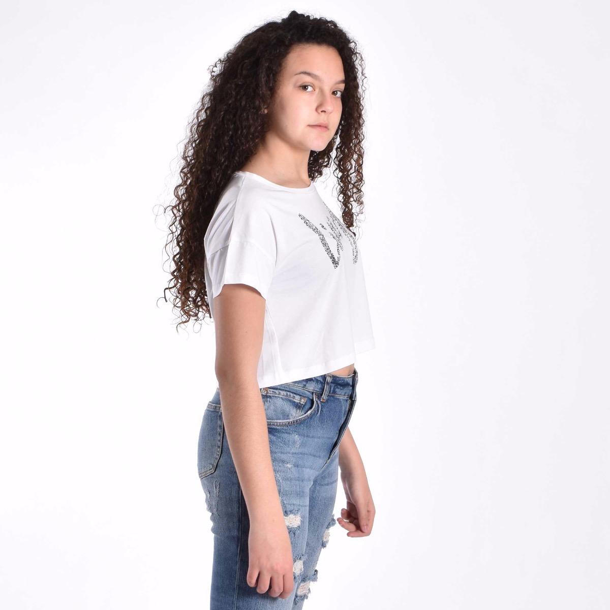 T-shirt logo in strass - Bianco