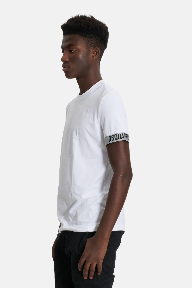 T-shirt logo maniche dsquared2- Bianco