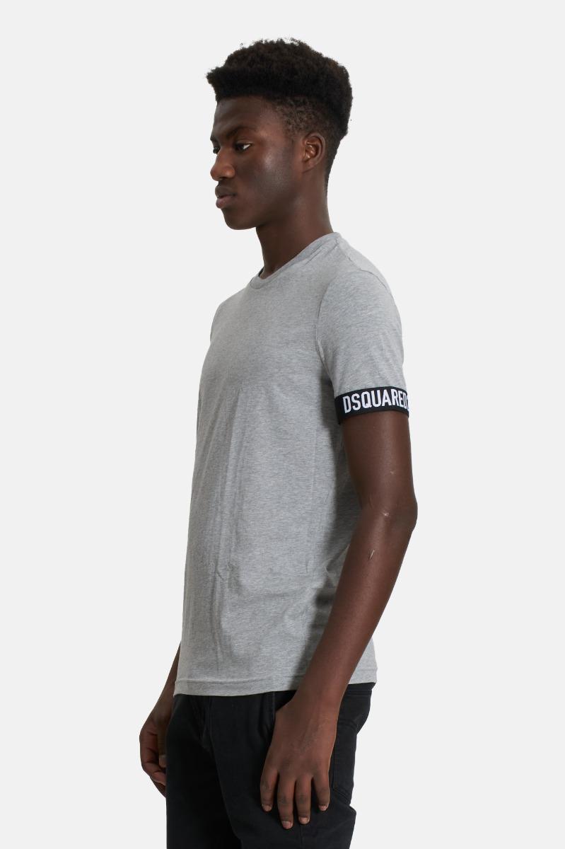 T-shirt logo maniche dsquared2- Grigio