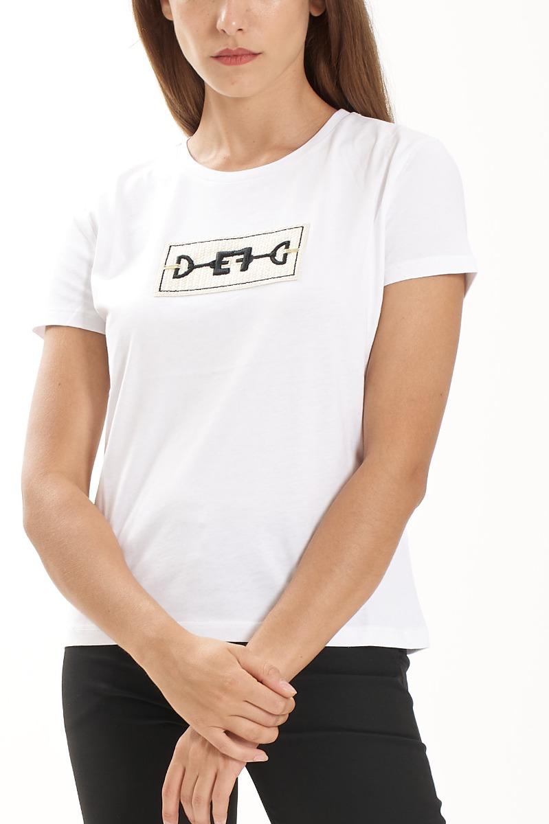 T-shirt ricamo morsetto- Gesso