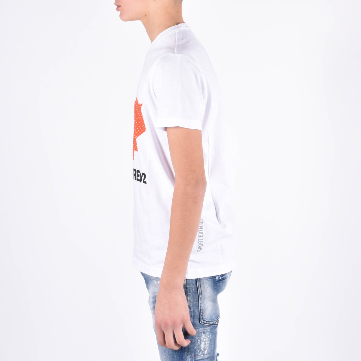 T-shirt maxi logo- Bianco\Rosso