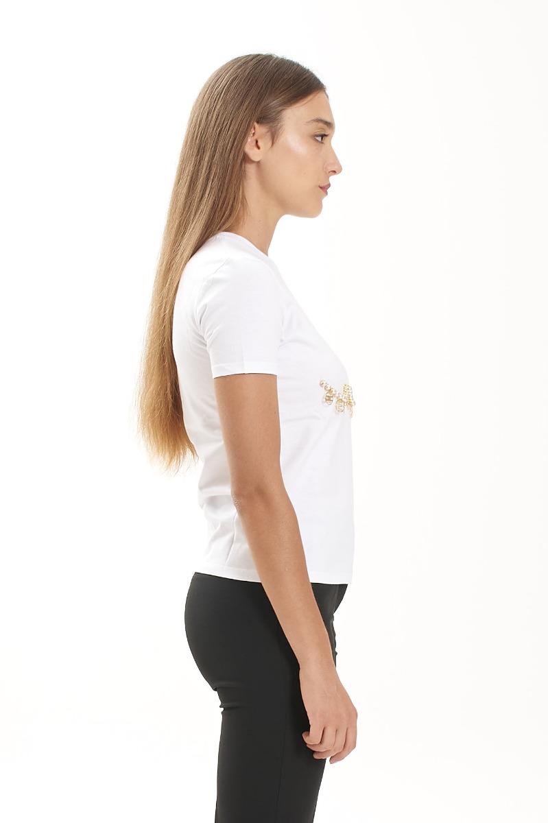 T-shirt perle e charms - Gesso