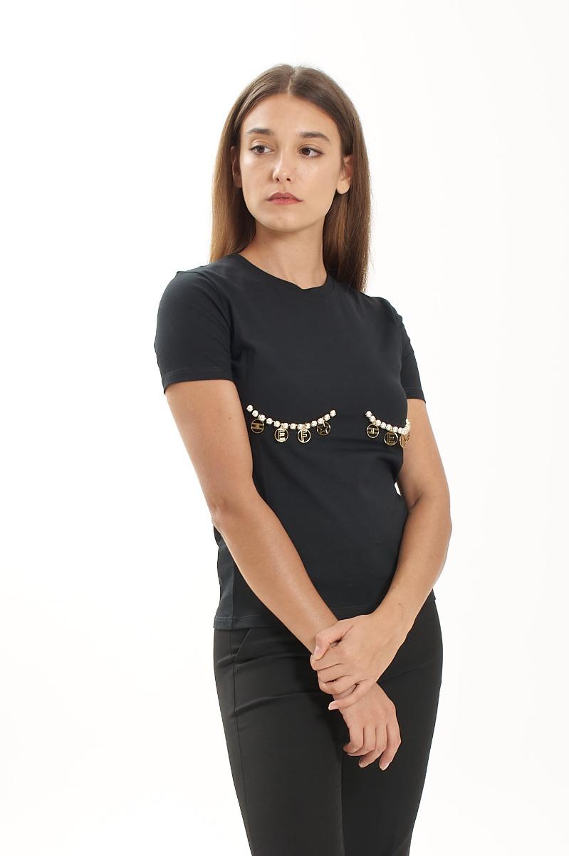 T-shirt charms e perle- Nero