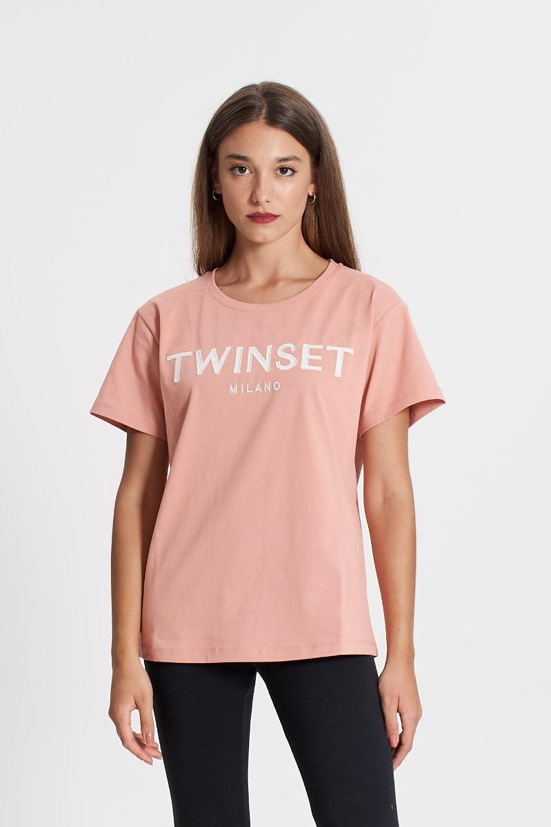 T-shirt ricamo logo- Rosa