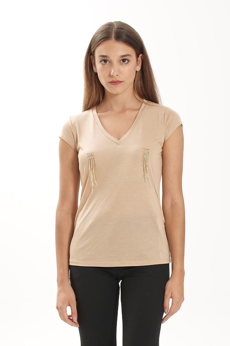 T-shirt logo strass pendenti- Cappuccino