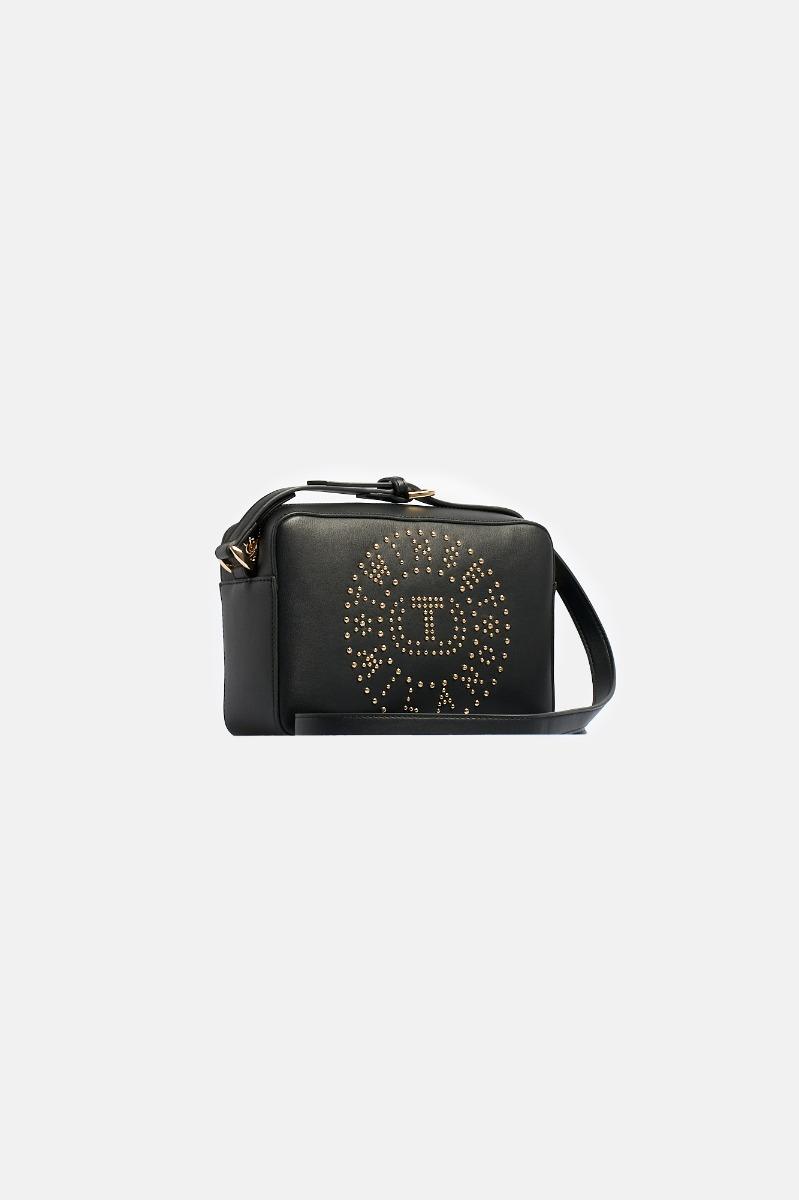 Tracolla borchiette logo - Nero